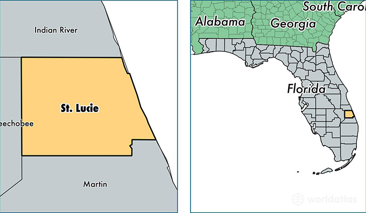 location of Saint Lucie county on a map