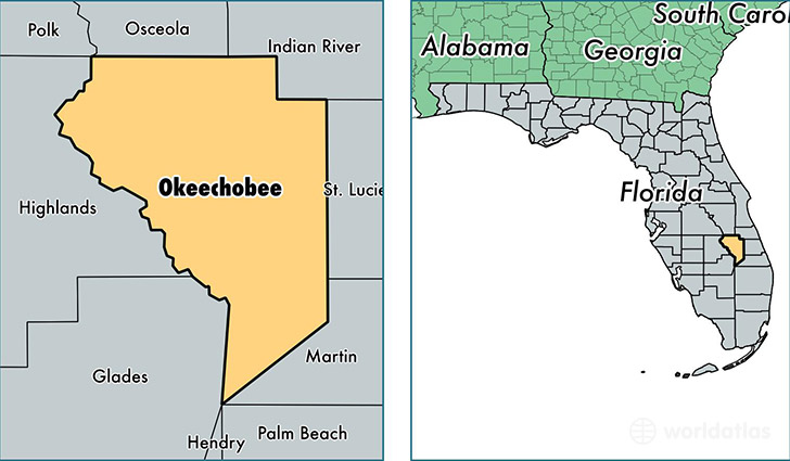 location of Okeechobee county on a map
