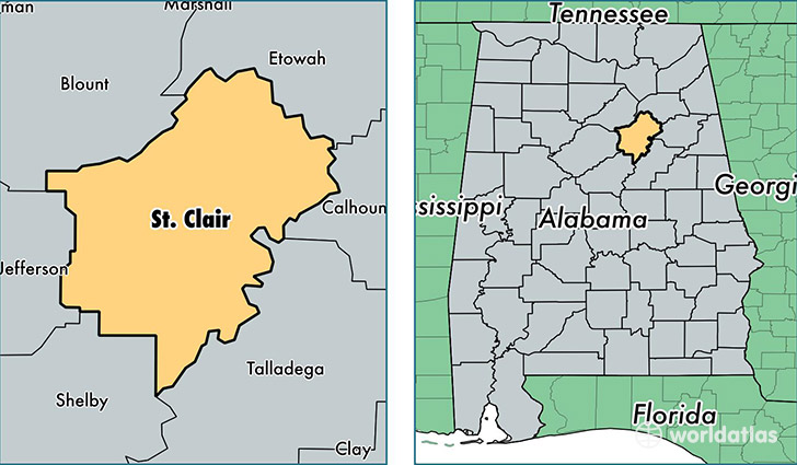 location of Saint Clair county on a map