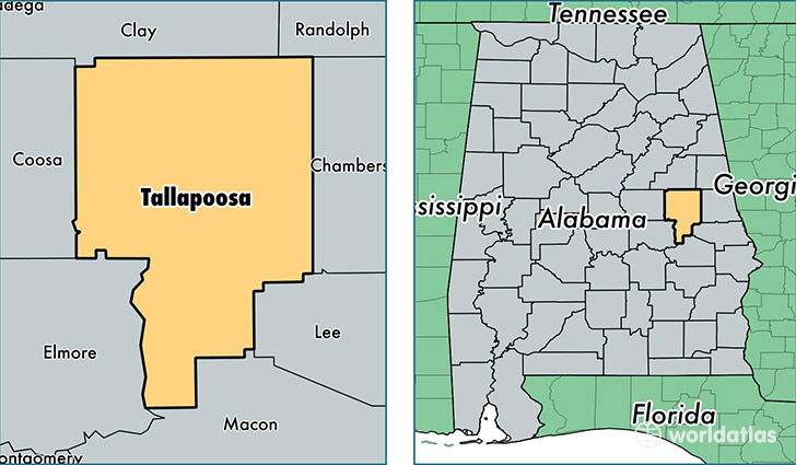 location of Tallapoosa county on a map
