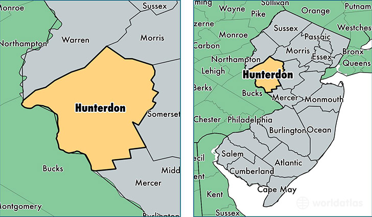 location of Hunterdon county on a map