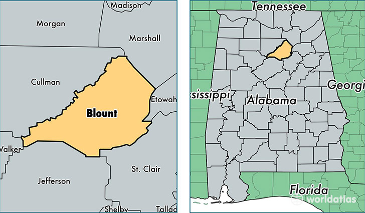 location of Blount county on a map