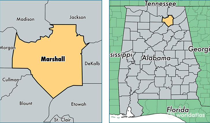 Marshall County Alabama Map Of Marshall County AL Where Is - Al map