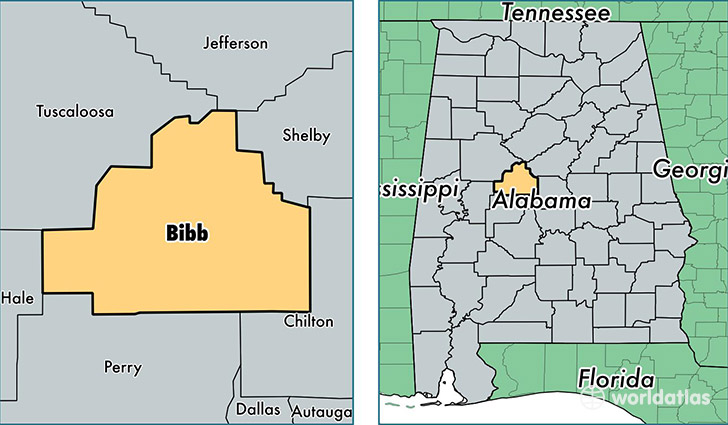 location of Bibb county on a map