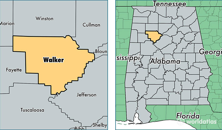 location of Walker county on a map
