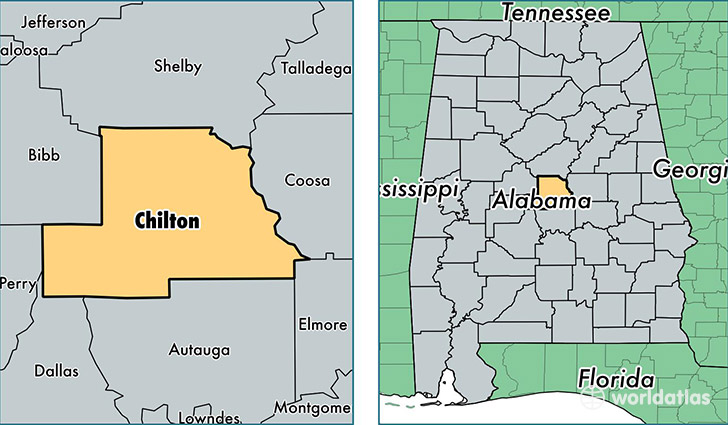 location of Chilton county on a map