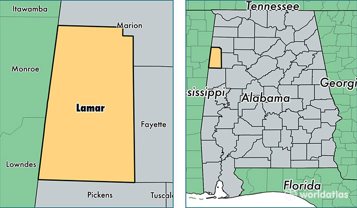 Lamar County, Alabama / Map of Lamar County, AL / Where is ...