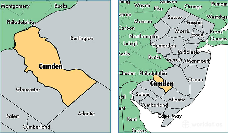 location of Camden county on a map