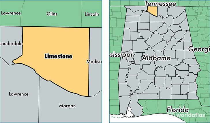 location of Limestone county on a map