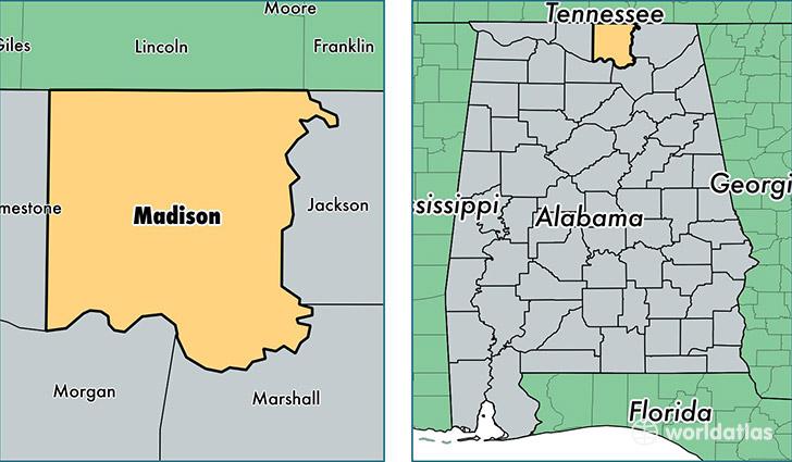 Madison County Alabama Map Of Madison County AL Where Is - Alabama on us map
