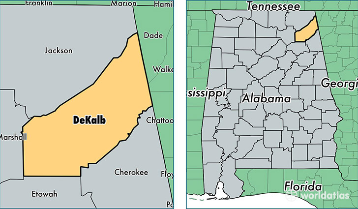 location of DeKalb county on a map