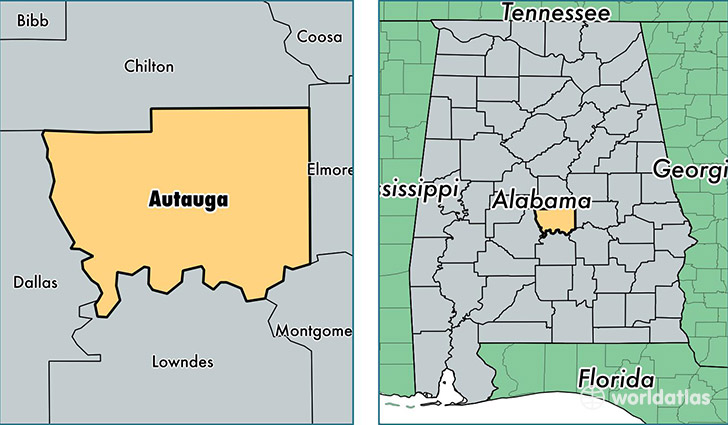 location of Autauga county on a map