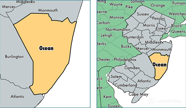 Ocean County New Jersey Map Of Ocean County Nj Where