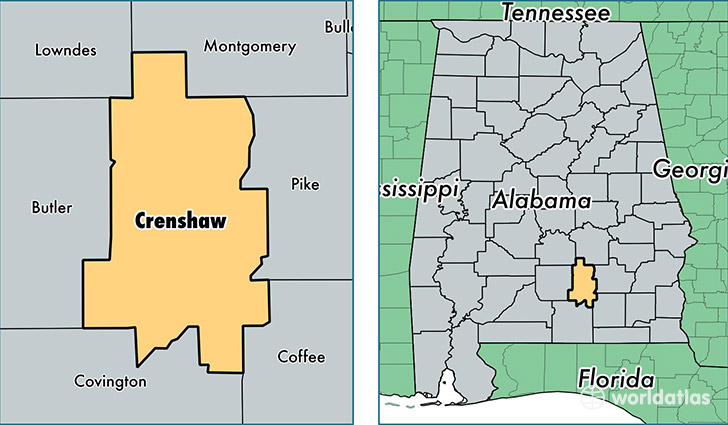 location of Crenshaw county on a map
