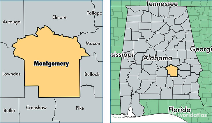 Montgomery County Alabama Map Of Montgomery County AL Where - Alabama counties road map usa