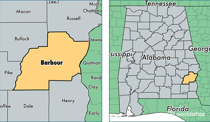 location of Barbour county on a map