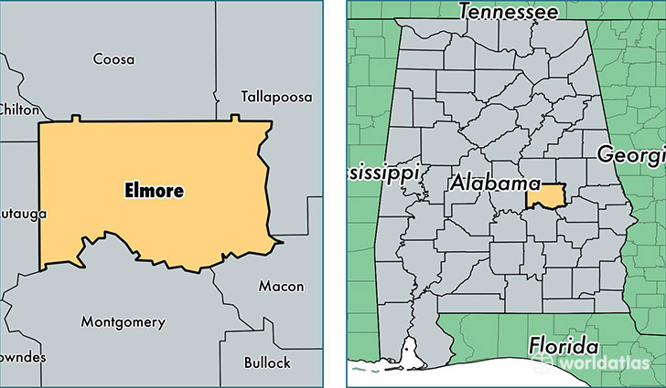 location of Elmore county on a map
