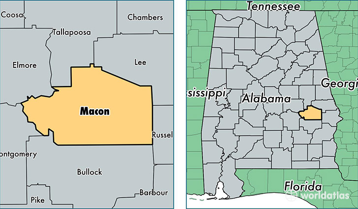 Macon County Alabama Map of Macon County AL Where is Macon County