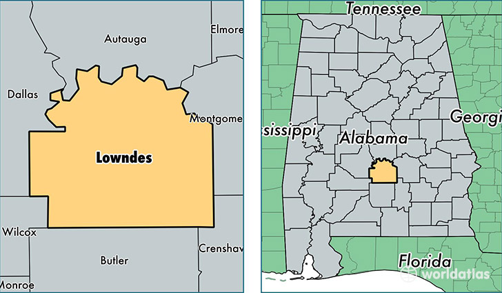 location of Lowndes county on a map