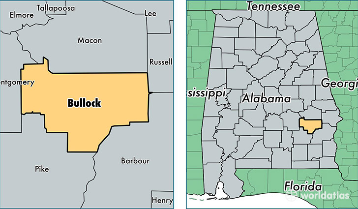 location of Bullock county on a map