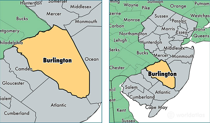 location of Burlington county on a map