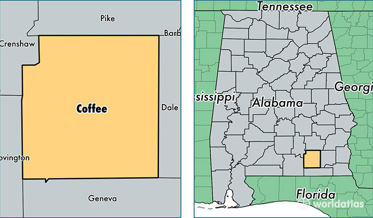 location of Coffee county on a map