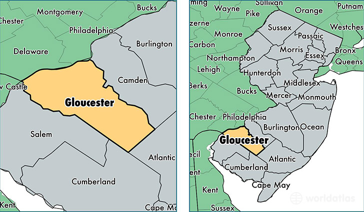location of Gloucester county on a map
