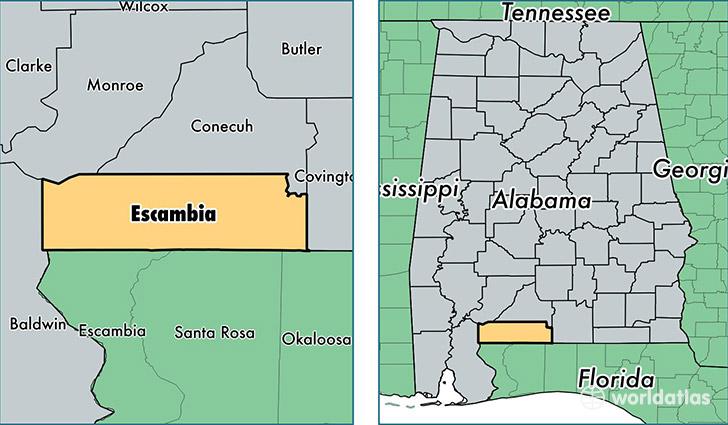 Escambia County, Alabama / Map of Escambia County, AL / Where is ...