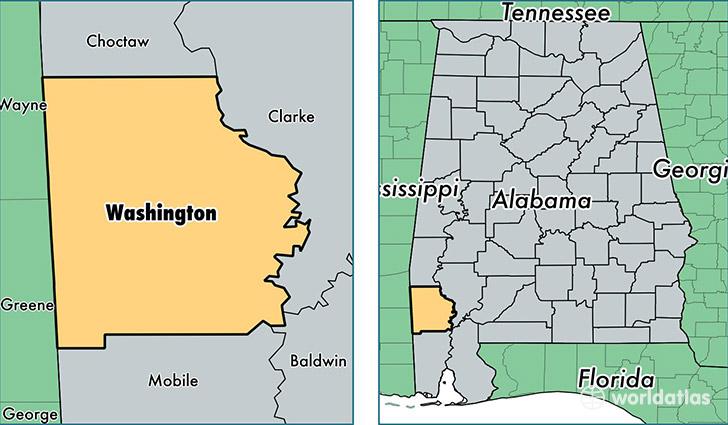 Washington County Alabama Map Of Washington County AL Where - Washington county map