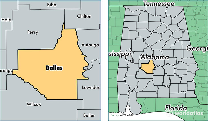 location of Dallas county on a map