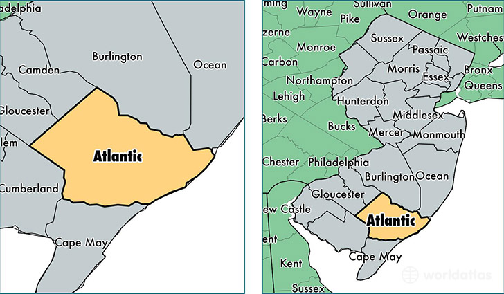 location of Atlantic county on a map