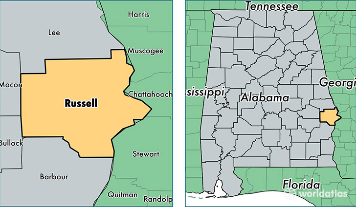 Russell County Alabama Map Of Russell County AL Where Is - Alabama on the us map
