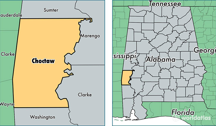 location of Choctaw county on a map