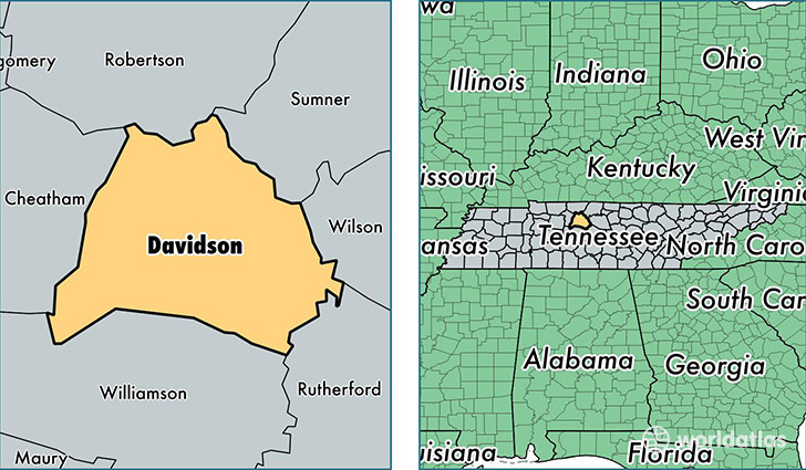 location of Davidson county on a map
