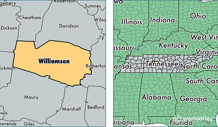 location of Williamson county on a map