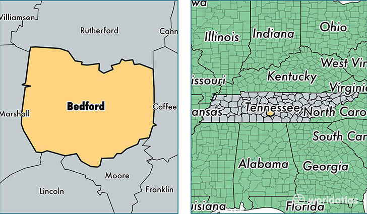location of Bedford county on a map