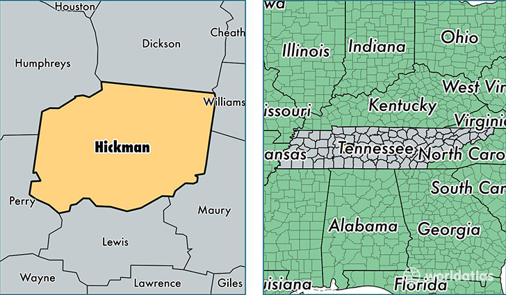 location of Hickman county on a map
