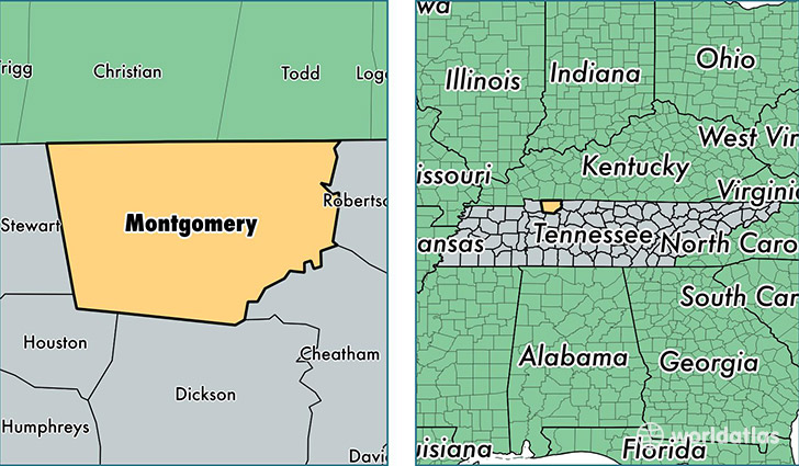 Montgomery County Tennessee Map Of Montgomery County Tn Where
