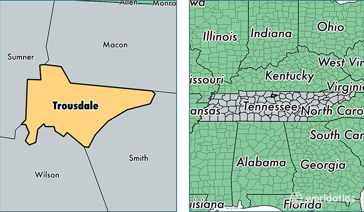 location of Trousdale county on a map