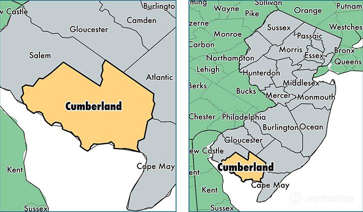 location of Cumberland county on a map