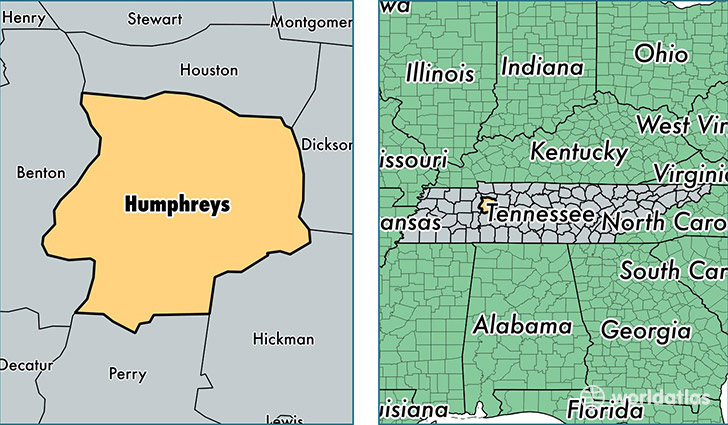 location of Humphreys county on a map