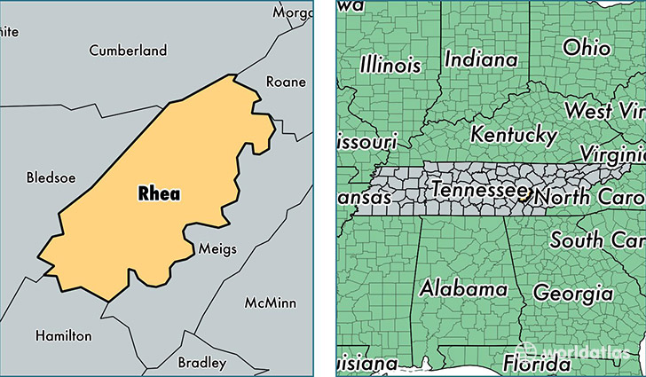 location of Rhea county on a map