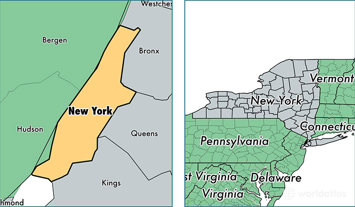 location of New York county on a map