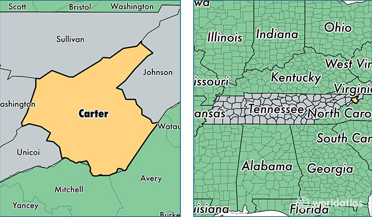 location of Carter county on a map