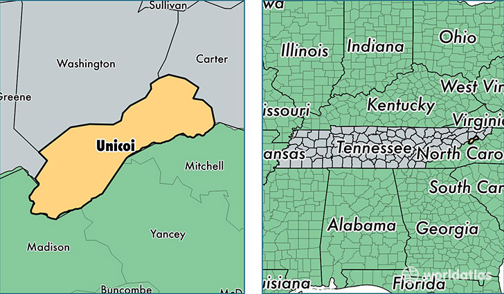 location of Unicoi county on a map