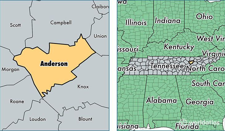 Anderson County Tennessee Map of Anderson County TN Where is