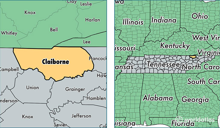 location of Claiborne county on a map