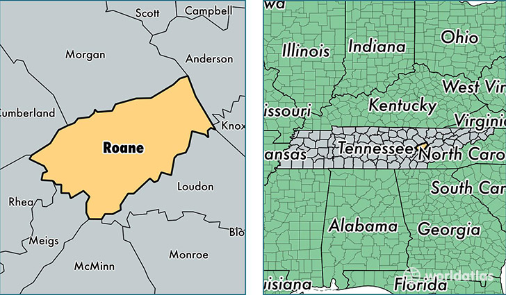 location of Roane county on a map