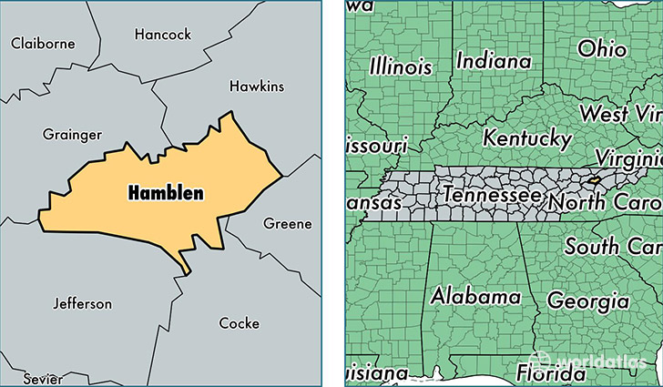 location of Hamblen county on a map