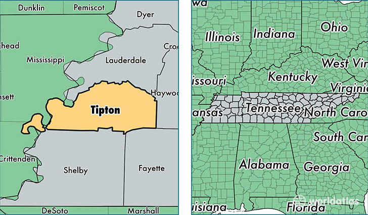 location of Tipton county on a map